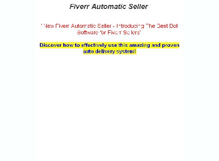 Fiverr AutoMatic Seller - Software for sellers review