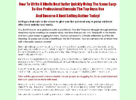 How To Write A Killer Kindle Best Seller Formula review