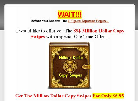 6-Figure Squeeze Pages + OTO1 Million Dollar Copy Swipes review