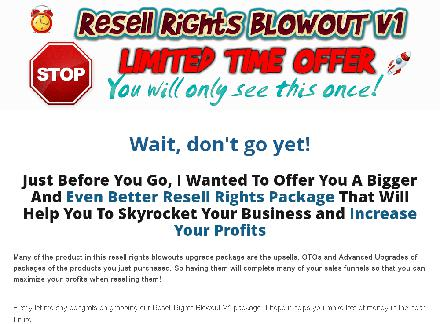 Resell Rights Blowout V1 OTO review