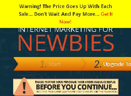 Internet Marketing For Newbies - Upsell review