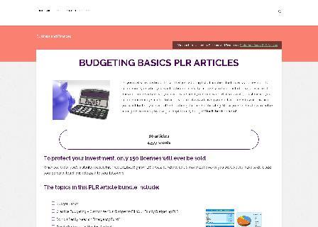 Budgeting Basics PLR Articles review