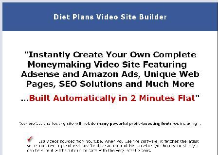 Diet Plans Video Site Builder review
