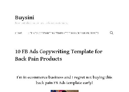 10 FB Ads Copywriting Template for Back Pain Products review