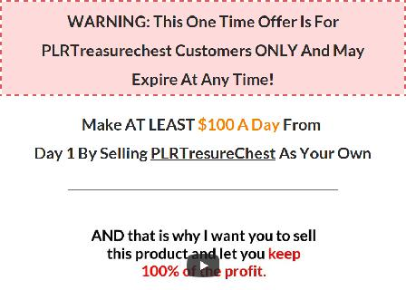 PLR Treasure Chest Resell Rights (OTO2) review