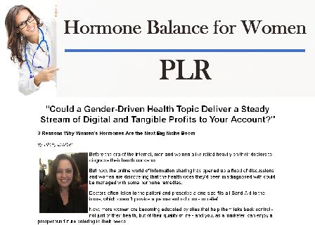 Hormone Balance for Women Mega PLR review