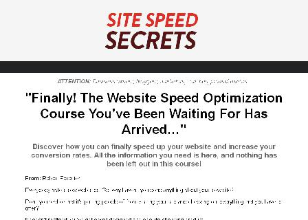 Site Speed Secrets review