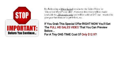 Classified WordPress SEO - Sales Video review