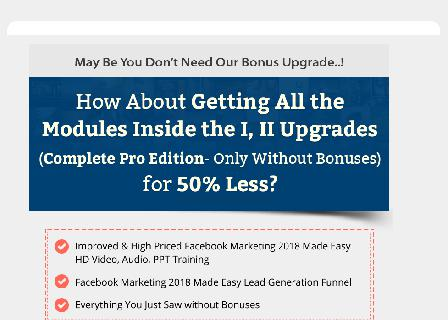 Facebook Marketing 2018 Success Kit Downsell review
