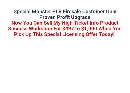 Info Product Success Workshop PLR Package review