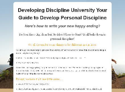 Developing Personal Discipline University review