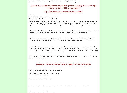 Simple Guide To Weight Loss Through Fasting review