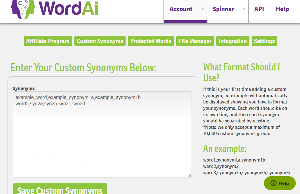 account custom synonyms