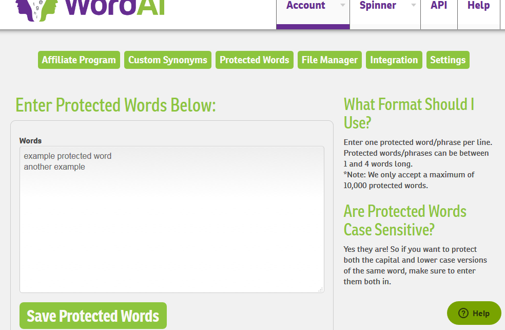 account protected words1