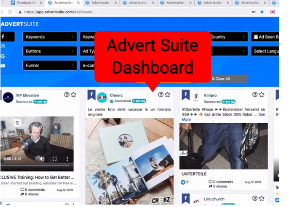 advertsuite dashboard