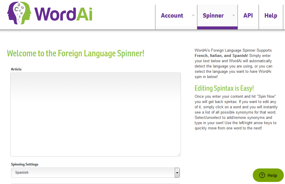 spinner foreign language spinner