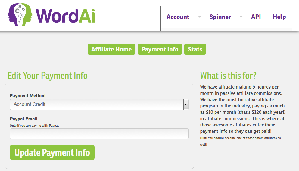 wordai affiliate payment info