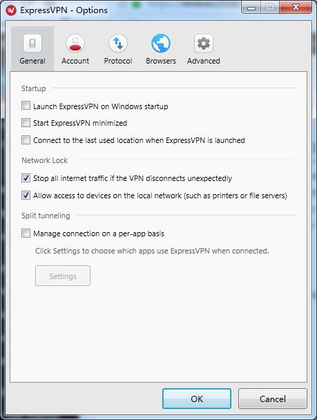 expressvpn options general