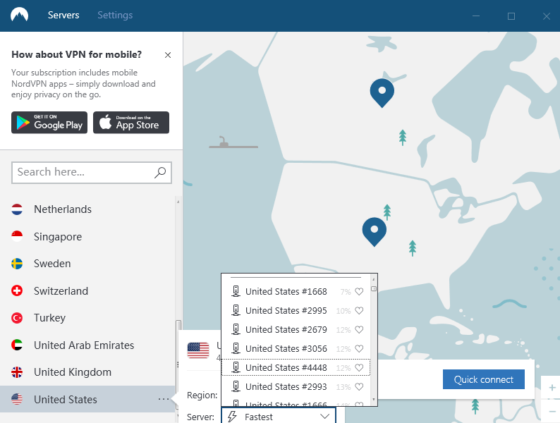 nordvpn select country server